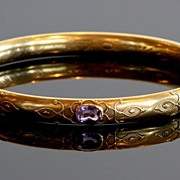 Edwardian 18K Gold Bangle with Amethysts