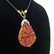 Platinum, Rose Cut Diamond, and Carnelian Pendant