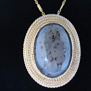 Picture Agate and 18k Yellow Gold Pin/Pendant