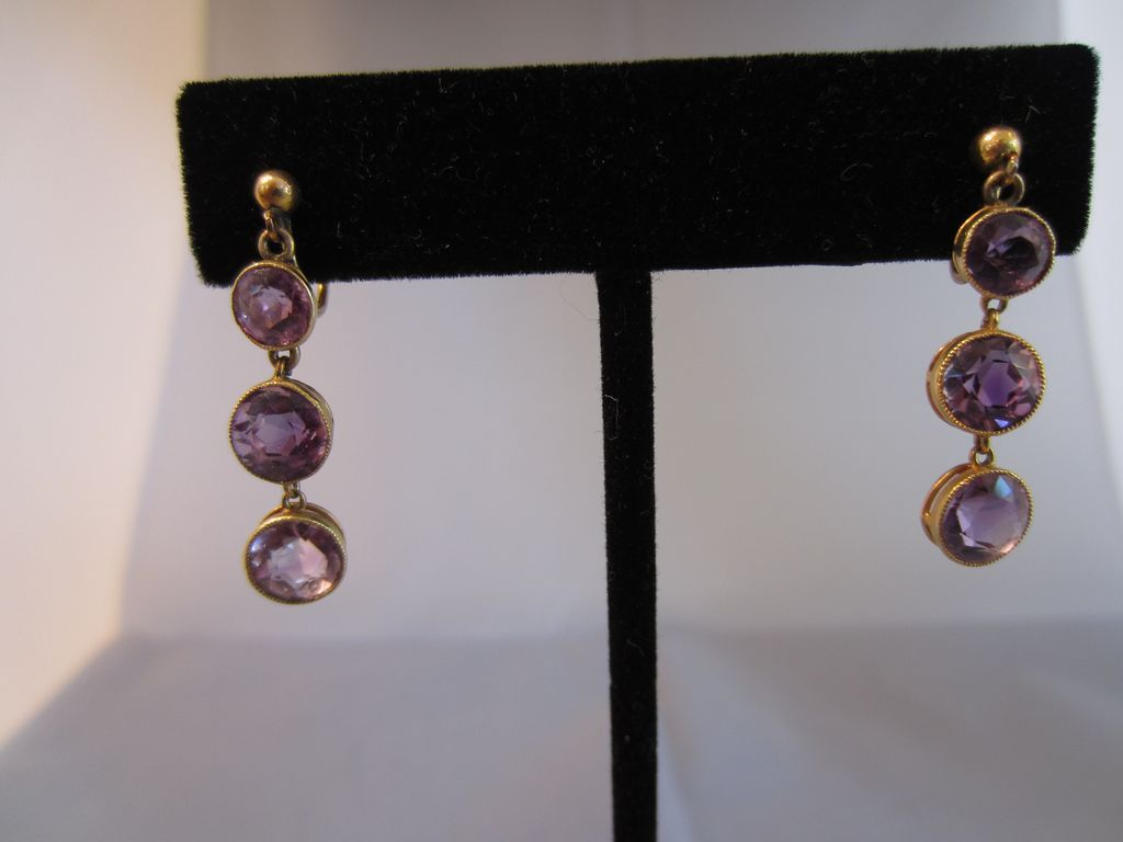 Amethyst and 15k Yellow Gold Screw Back Earrings