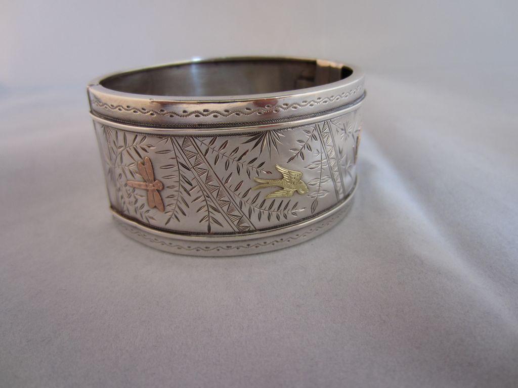 Victorian Aesthetic Period Silver Wide Cuff Bracelet