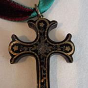 Victorian Pique Inlaid Shell Cross