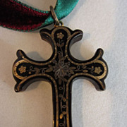 Victorian Pique Inlaid Shell Cross