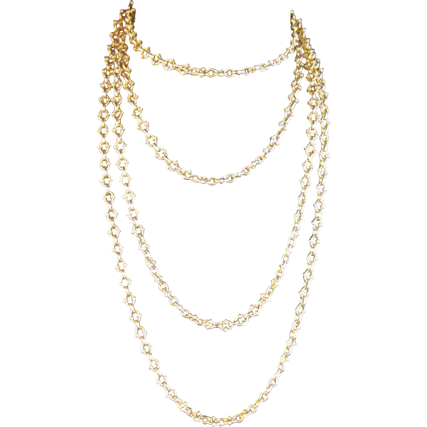 Art Nouveau Long Guard Chain in 18k Yellow Gold