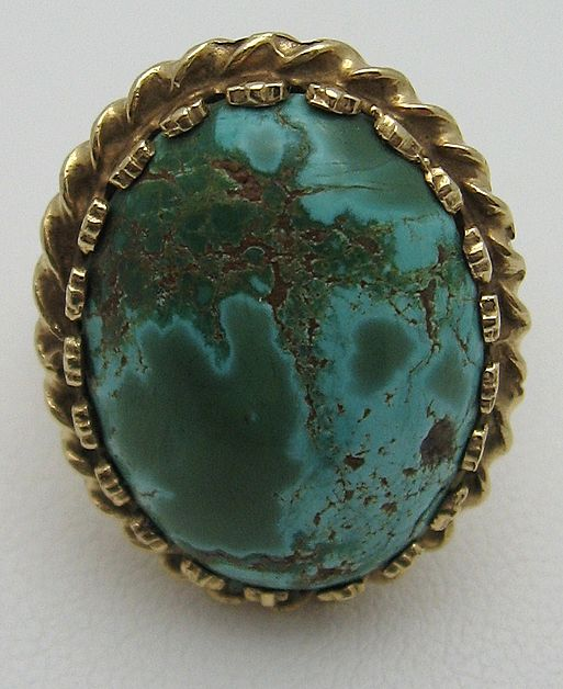 Vintage 14K Gold Natural Turquoise Ring