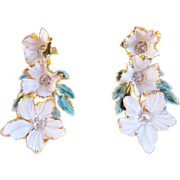 Sandor Enamel and Rhinestone Flower Earrings