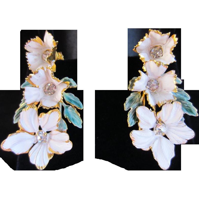 Sandor Enamel and Rhinestone Flower Earrings