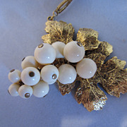 Vintage Yves Saint Laurent Gold Tone Grapes Necklace