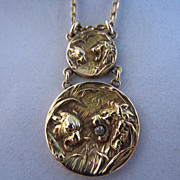 18k and Diamond Lion and Lioness Necklace