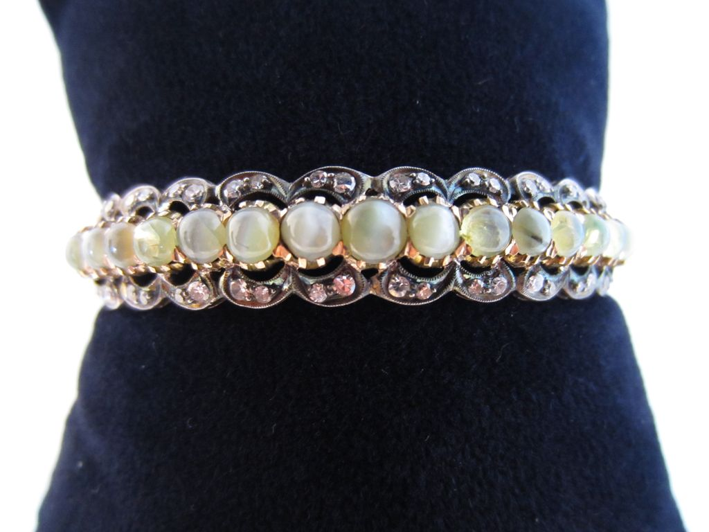 Cat's-Eye Chrysoberyl, Diamond and 18k Rose Gold Bangle Bracelet