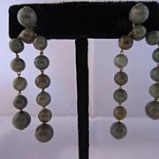 Vintage 14k Yellow Gold & Jade Earrings