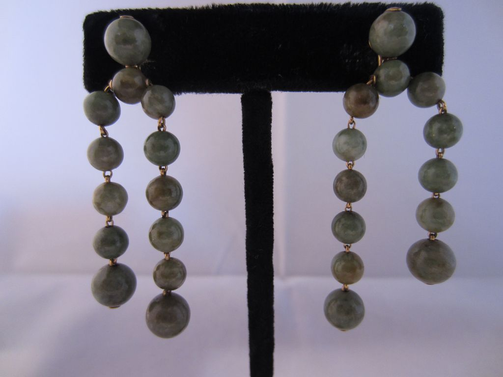 Vintage 14k Yellow Gold & Jade Earrings