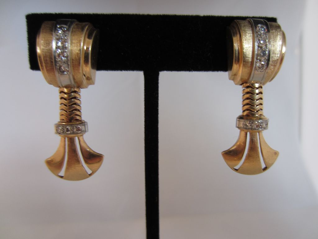 Rose Gold and Diamond Retro Screw Back Earrings