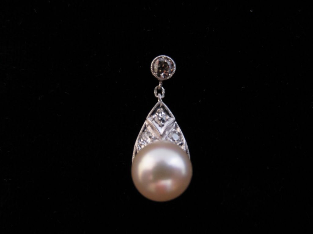 14k White Gold, Diamond and Pearl Drop Earrings
