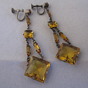 Art Deco Czechoslovakian Glass Drop Earrings