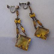 Art Deco Czechoslovakian Glass Drop Earrings