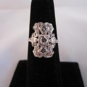 Art Deco Platinum and Diamond Cluster Ring