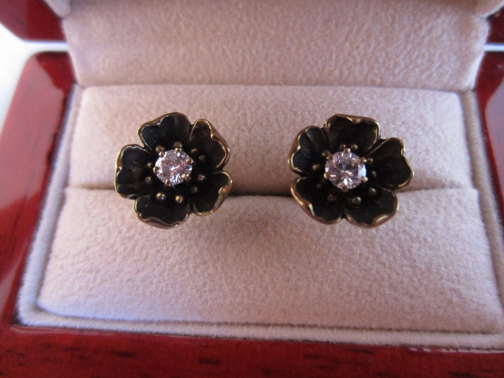 Diamond and 14k Flower Stud Earrings