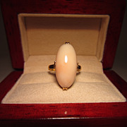 Angel Skin Coral and 18k Yellow Gold Ring