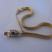 Victorian Snake Bracelet in 14k Diamond and Emerald