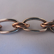 Rose Gold Tone and Silver Tone Link Bracelet by Kreisler
