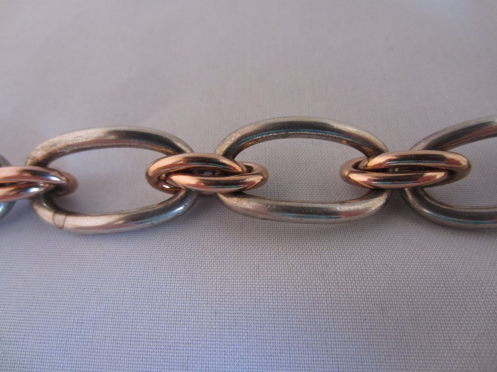 Rose Gold Tone and Silver Tone Link Bracelet by Kreisler