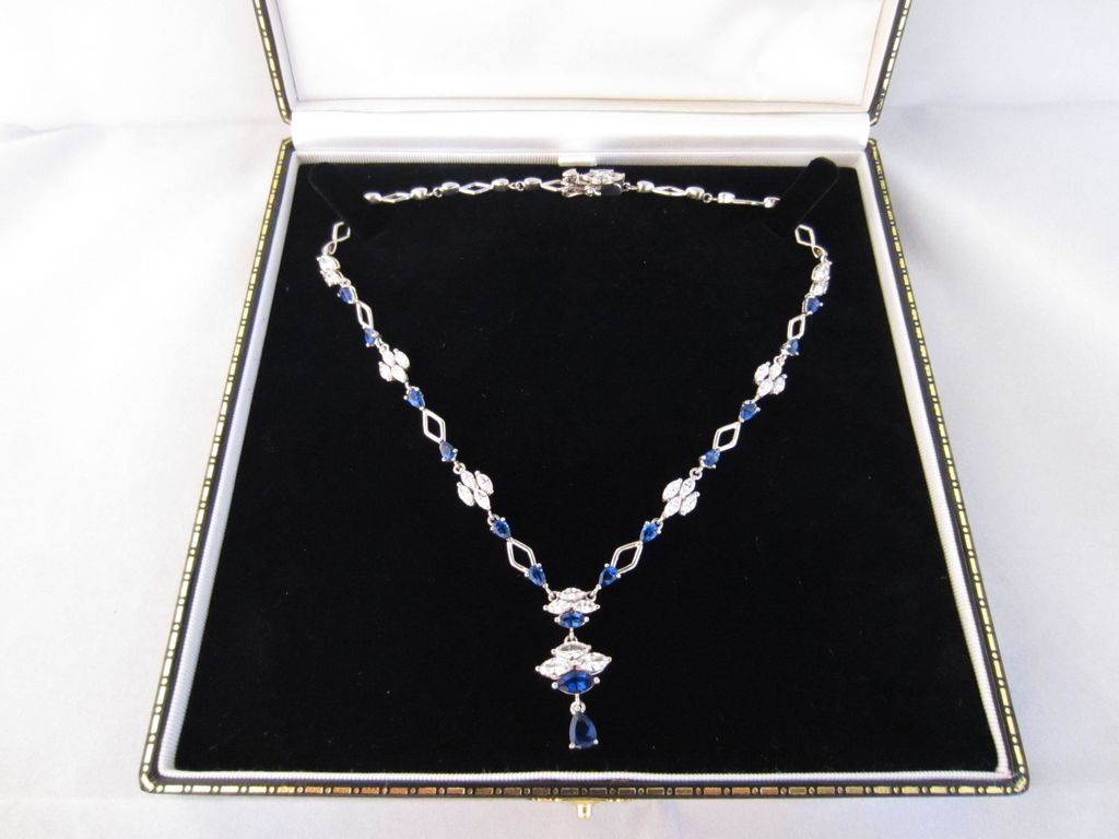 Diamond Paste, Sapphire Paste & Sterling Necklace