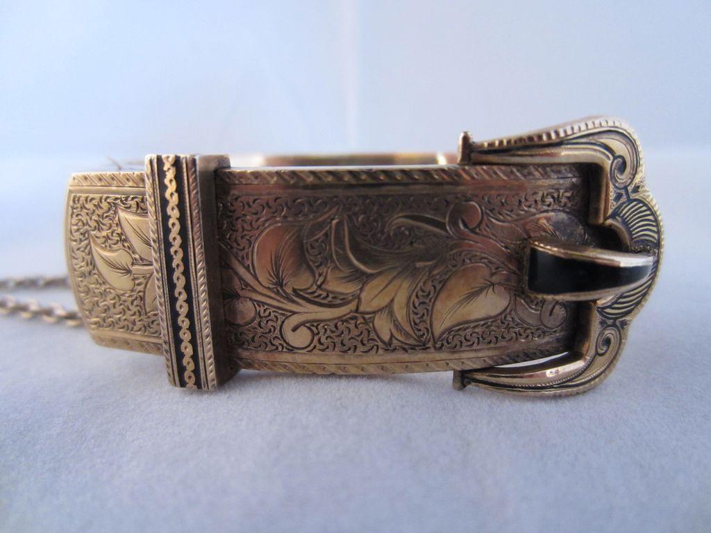 Enamel and 14k Gold Buckle Bracelet