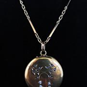 Edwardian 18k Diamond & Pearl Locket on 14k Chain