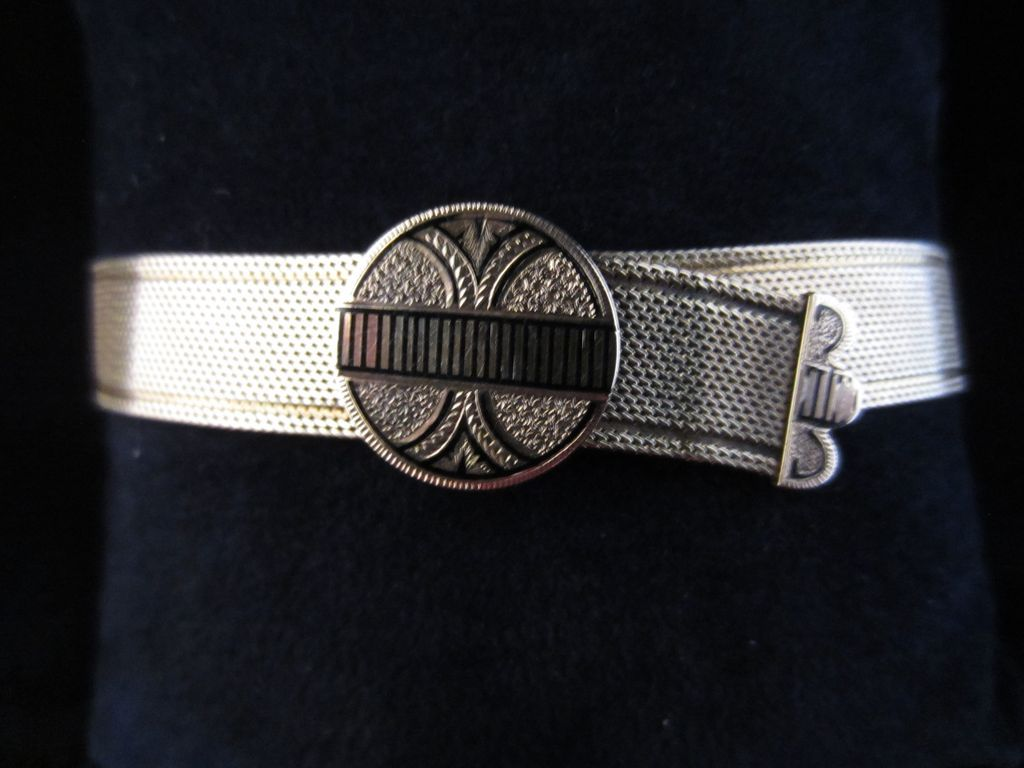 14k Gold Mesh Victorian Slide Bracelet