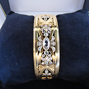 Heavy 18k Yellow Gold & Rose Cut Diamond Bangle