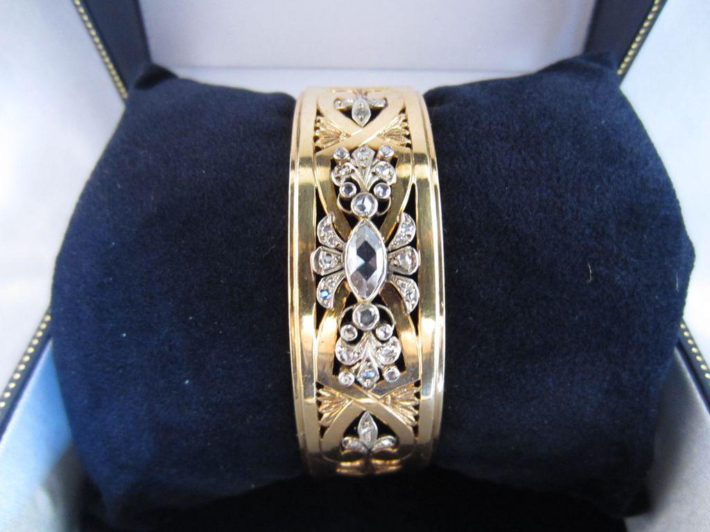 Heavy 18k Yellow Gold & Rose Cut Diamond Bangle