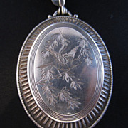 Sterling Silver Aesthetic Period Bird Motif Locket