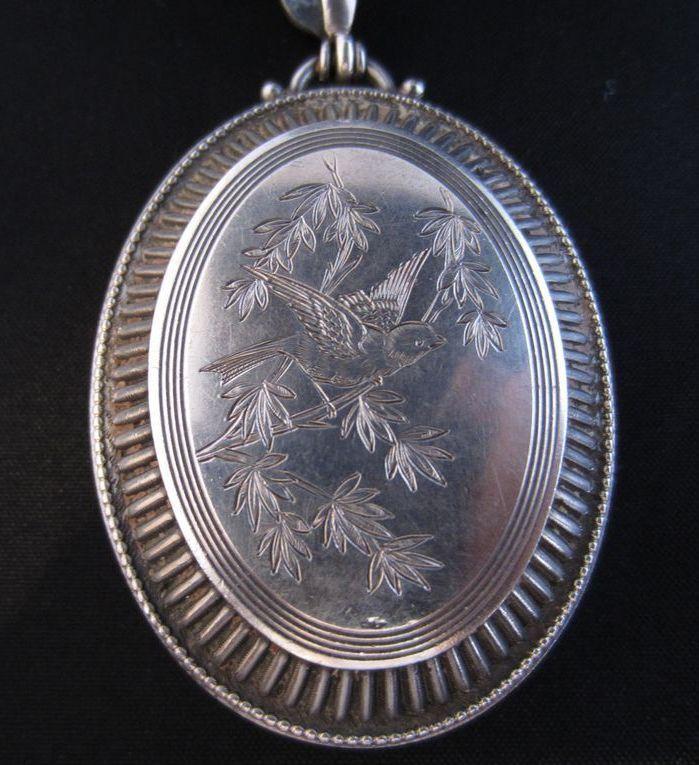 Sterling Silver Aesthetic Period Bird Motif Locket