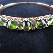 Art Nouveau Diamond and Peridot Bangle Bracelet