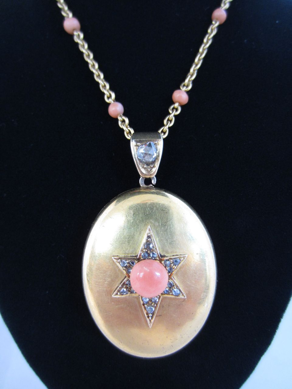 Diamond, Coral and 18k Yellow Gold Locket