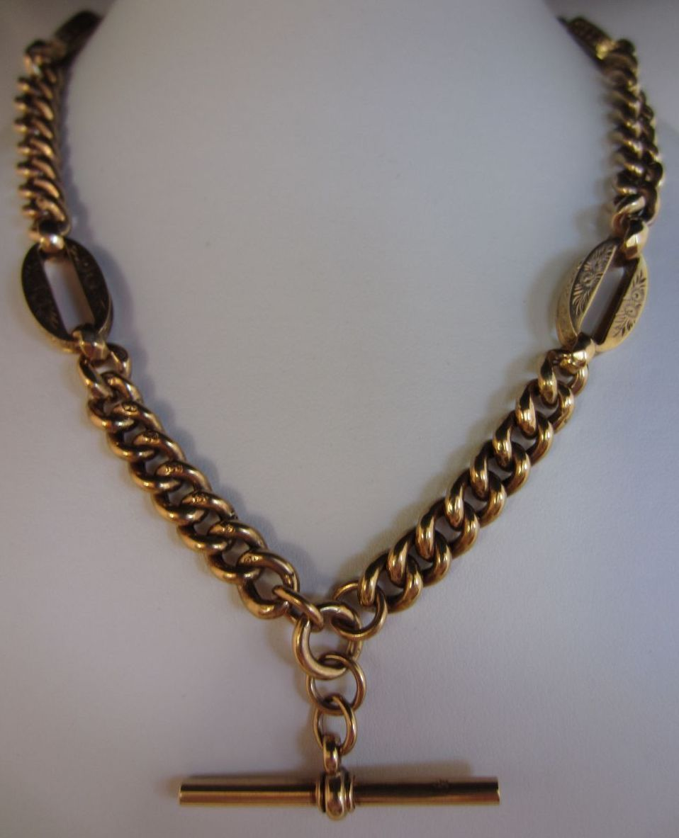 Victorian 9k Yellow Gold Watch Chain