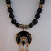Victorian 14k Gold and Onyx Necklace