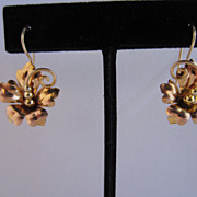 Retro 14k Rose and Yellow Gold Flower Earrings