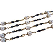 Vintage 18k Gold, Enamel and Pearl Necklace