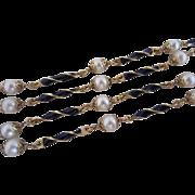 Vintage 18k Gold, Enamel and Pearl Necklace