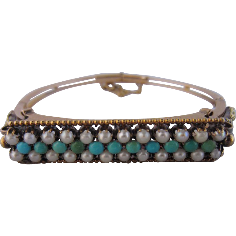 Victorian Persian Turquoise and Natural Pearl Bracelet