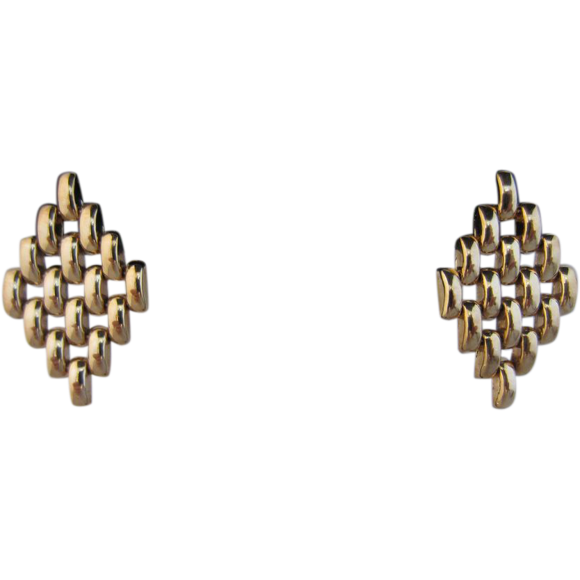 Linked 9k Yellow Gold Italian Earrings