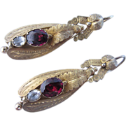 Victorian 18k Yellow Gold & Garnet Earrings