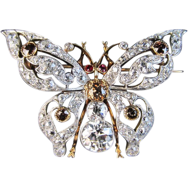 White Diamond, Natural Champagne Diamond and Ruby Butterfly Pin/Pendant