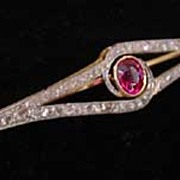 Edwardian Platinum, Diamond & Ruby Brooch