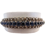 18k, Sterling Silver, Sapphire & Rose Cut Diamond Bangle Bracelet