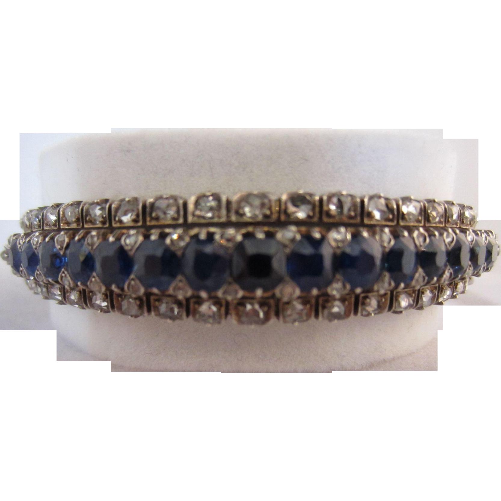 18k, Sterling Silver, Sapphire & Rose Cut Diamond Bangle Bracelet