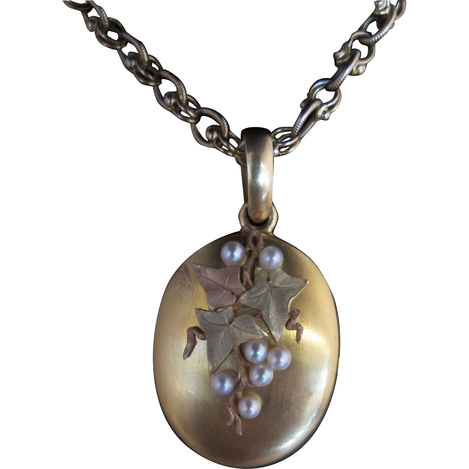 18k Three-Tone Gold Locket with Pearls