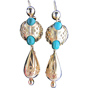 Victorian Gold and Malachite Drop Earrings